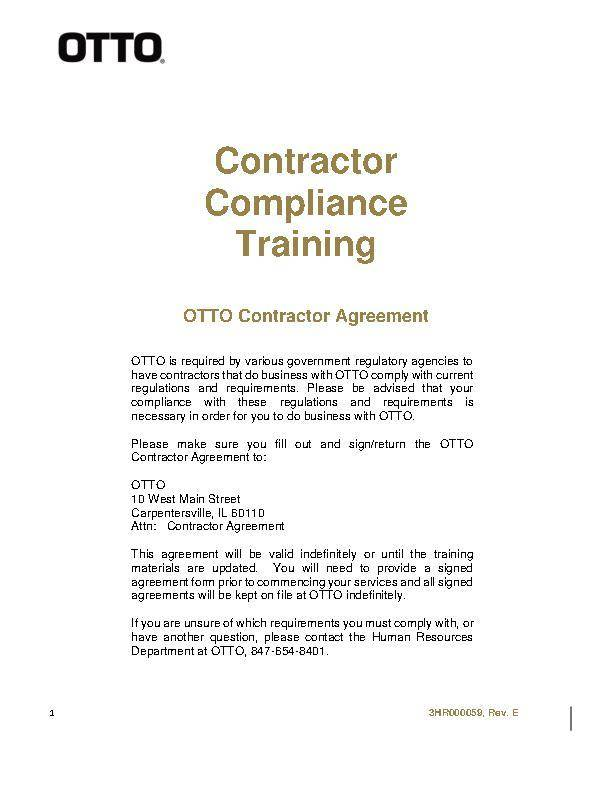 Contractor Compliance Training Contractor Agreement Form